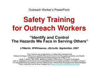 Outreach Worker s PowerPoint   Safety Training for Outreach Workers