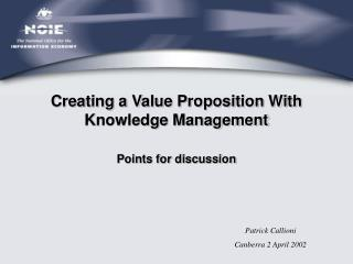 Creating a Value Proposition With Knowledge Management
