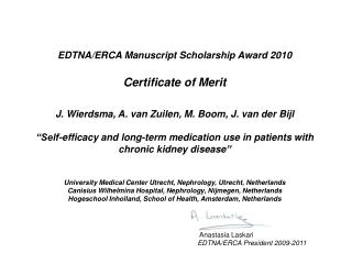 EDTNA/ERCA Manuscript Scholarship Award 20 10 Certificate of  Merit
