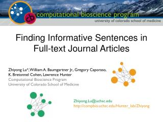 Finding Informative Sentences in  Full-text Journal Articles
