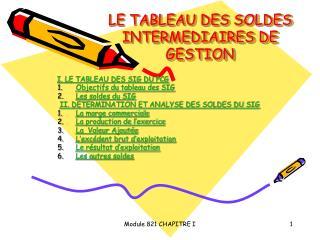 LE TABLEAU DES SOLDES INTERMEDIAIRES DE GESTION