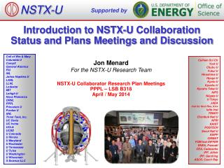 Introduction to NSTX-U  Collaboration  Status  and  Plans Meetings and Discussion