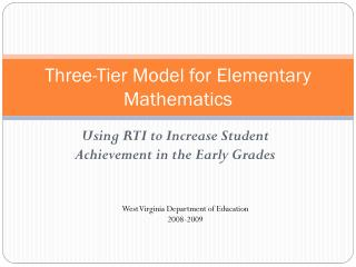 Three-Tier Model for Elementary Mathematics