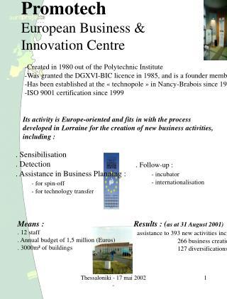 Promotech European Business & Innovation Centre