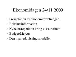 Ekonomidagen 24/11 2009