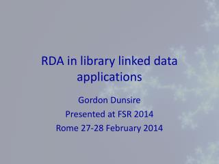 RDA in library linked data applications