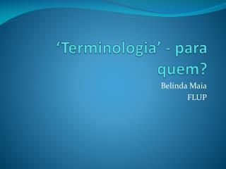 'Terminologia' - para quem?