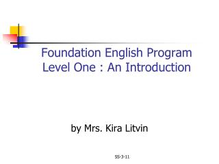 Foundation English Program Level One : An Introduction