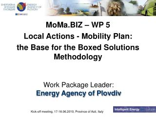 Work Package Leader: Energy Agency of Plovdiv