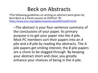 Beck on Abstracts