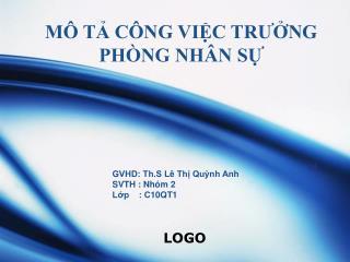 MÔ TẢ CÔNG VIỆC TRƯỞNG PHÒNG NHÂN SỰ