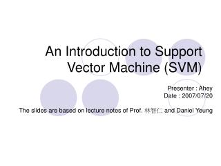 An Introduction to Support Vector Machine SVM
