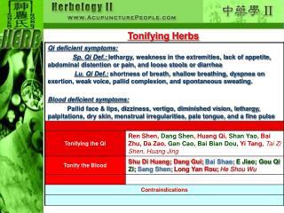 Tonifying Herbs