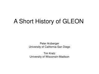 A Short History of GLEON