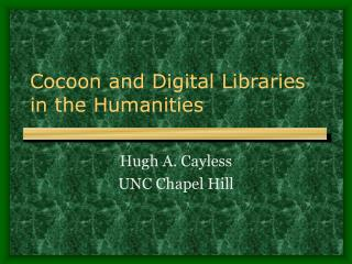 Cocoon and Digital Libraries in the Humanities