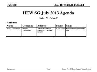 HEW SG July 2013 Agenda