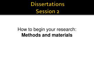 Dissertations Session 2