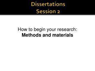 Dissertations Session 2