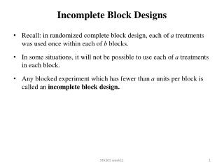Incomplete Block Designs
