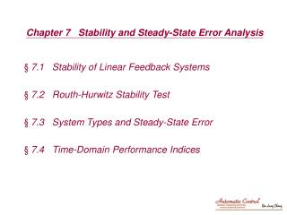 Chapter 7   Stability and Steady-State Error Analysis