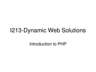 I213-Dynamic Web Solutions