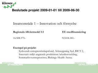 Beslutade projekt 2009-01-01 till 2009-06-30