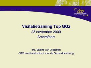 Visitatietraining Top GGz 23 november 2009 Amersfoort drs. Sabine van Logtestijn