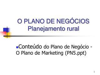 O PLANO DE NEGÓCIOS Planejamento rural