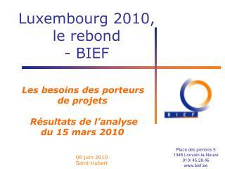 Les besoins  des porteurs  de projets  Résultats de l'analyse  du 15 mars  2010