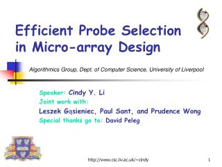 Efficient Probe Selection in Micro-array Design