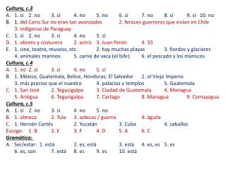 Cultura , c.3 1.  sí 2. no3.  sí 4. no5. no6.  sí 7. no8.  sí 9.  sí    10. no