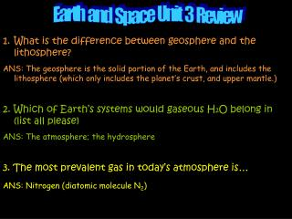 Earth  and  Space  Unit  3  Review