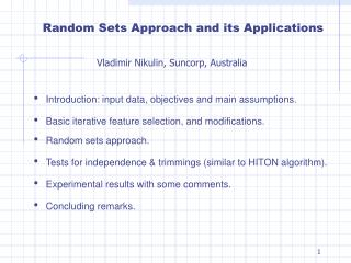 Random Sets Approach and its Applications