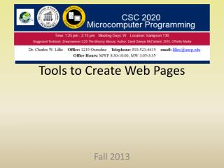 Tools to Create Web Pages