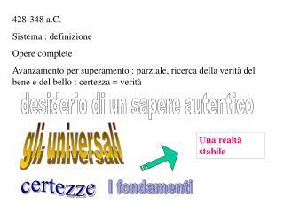 428-348 a.C.  Sistema : definizione Opere complete