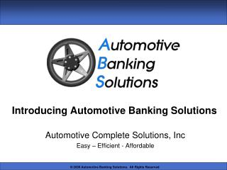 Introducing Automotive Banking Solutions