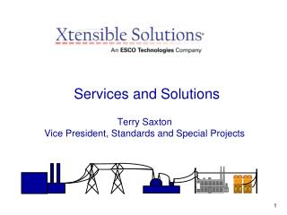 Services and Solutions Terry Saxton Vice President, Standards and Special Projects