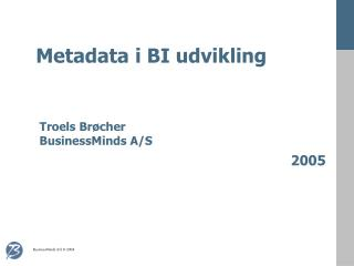 Metadata i BI udvikling
