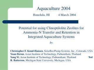 Potential for using Clinoptilolite Zeolites for Ammonia-N Transfer and Retention in Integrated Aquaculture Systems by