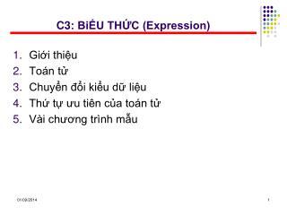 C3: BiỂU THỨC (Expression)