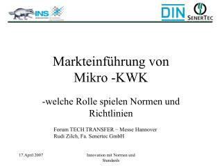 Markteinführung von  Mikro -KWK