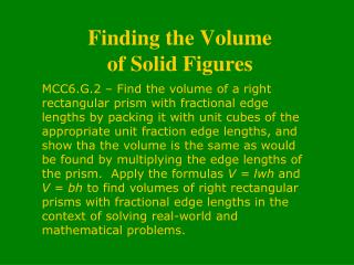 Finding the Volume  of Solid Figures