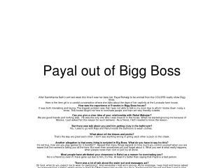 Payal out of Bigg Boss