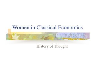 Women in Classical Economics