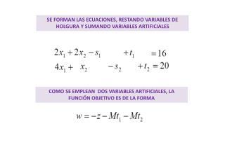 SE FORMAN LAS ECUACIONES, RESTANDO VARIABLES DE HOLGURA Y SUMANDO VARIABLES ARTIFICIALES
