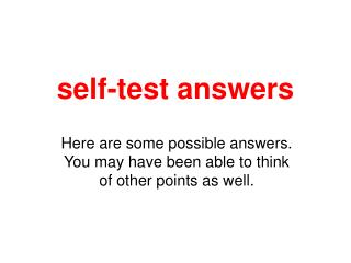 self-test answers