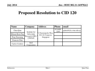 Proposed Resolution to CID 120