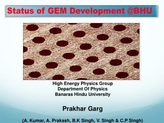 Status of GEM Development @BHU