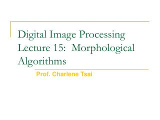 Digital Image Processing Lecture 15:  Morphological Algorithms