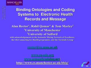Binding Ontologies and Coding Systems to  Electronic Health Records and Message
